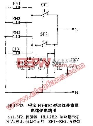 得宝FD-01C型远红外食品电烤炉电路图