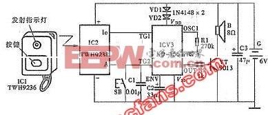 门铃 遥控 语音 电路图 无线电/无线电遥控与手控双语音门铃电路图
