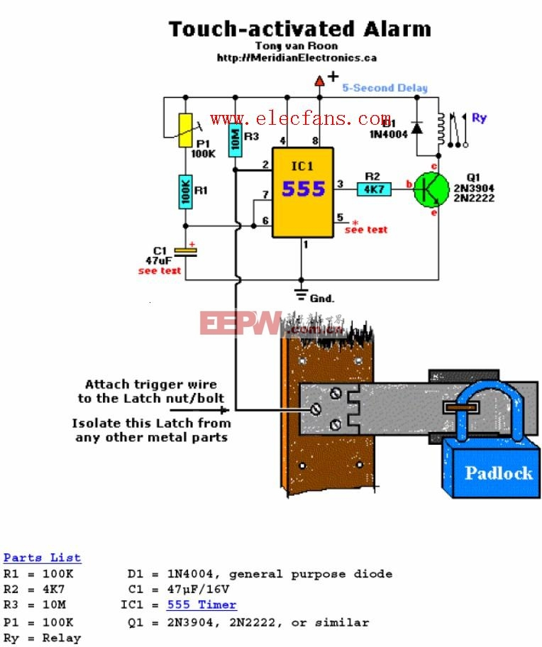 Touch-activated Alarm circuits