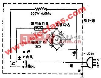 万里牌EA-1507型电吹风电路图