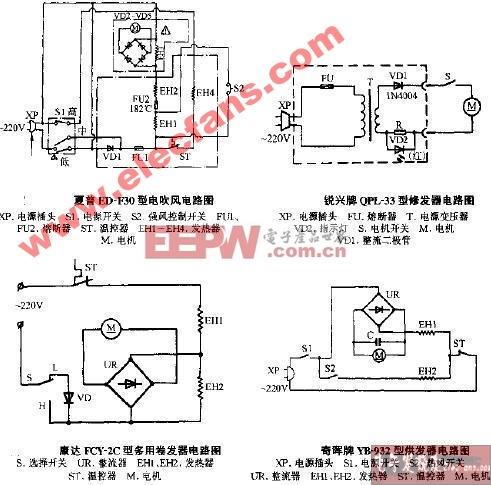 奇晖牌YB-932型烘发器电路图