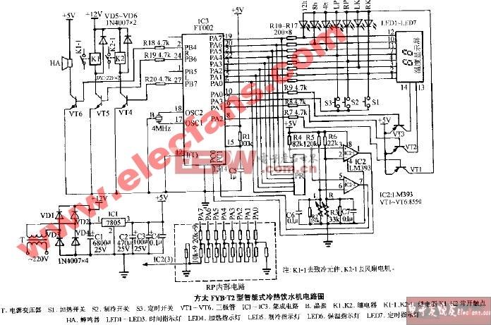 方太FYB-T2型智能式温热饮水机电路图