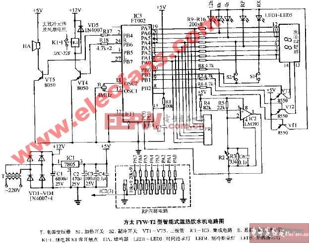 方太FYW-T2型智能式温热饮水机电路图