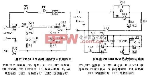 名果皇ZB-2001型温热饮水机电路图