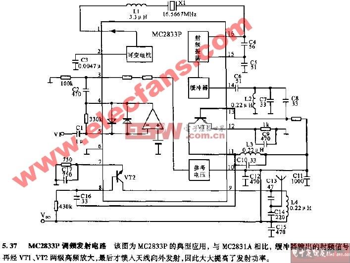 MC2833P调频发射电路图