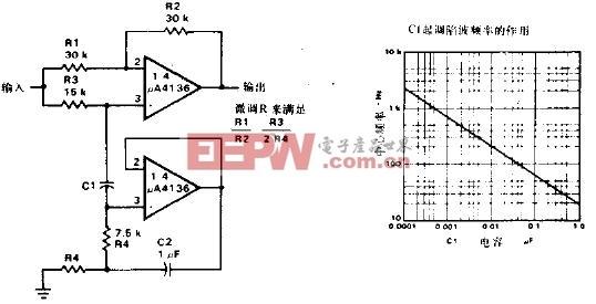 使用A4136作为回转器的陷波滤波器电路图