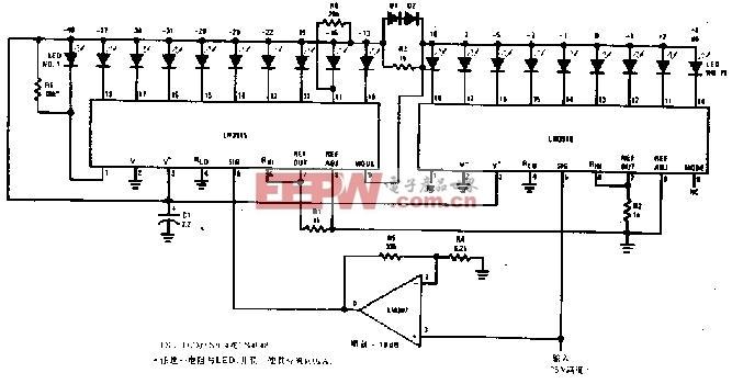 扩展量程的音响分贝表电路图