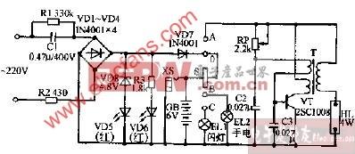龙华牌DL-03型充电应急灯电路图