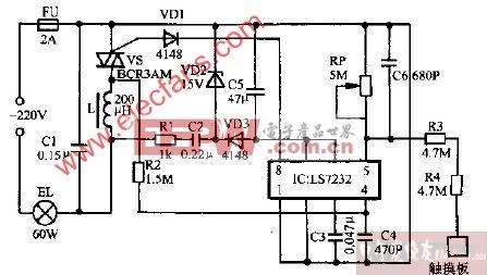LD-97C型触摸式调光台灯电路图