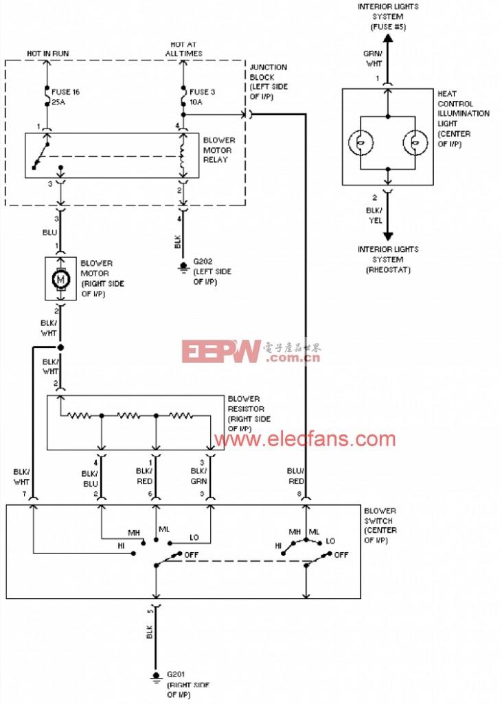 1994年三菱Montero加热器电路图 http:/www.eepw.com.cn