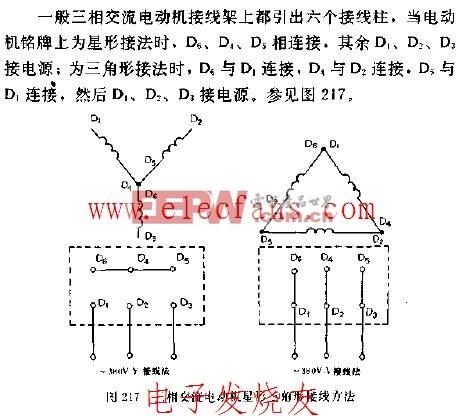 三相交流电动机星形三角形接线方法电路图