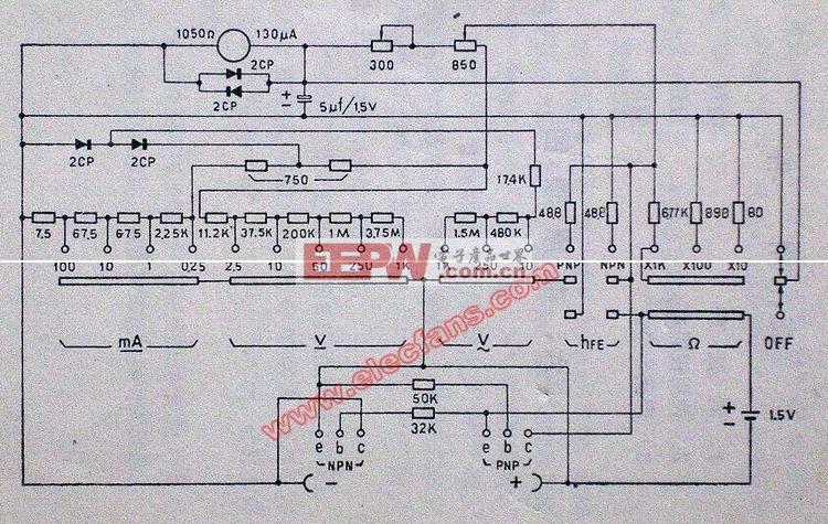 电路图 万用表 mf40/mf40型万用表电路图