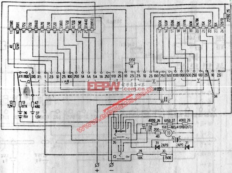 mf14型万用表电路图 电路图 电子产品世界高清图片