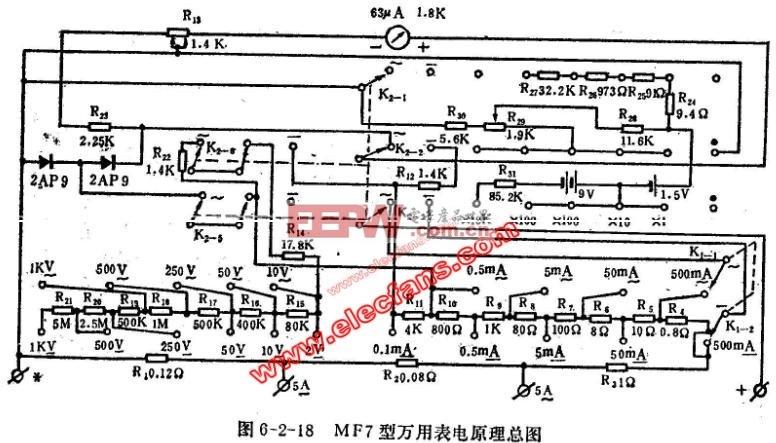 电路图 万用表 mf7/MF7型万用表电路图