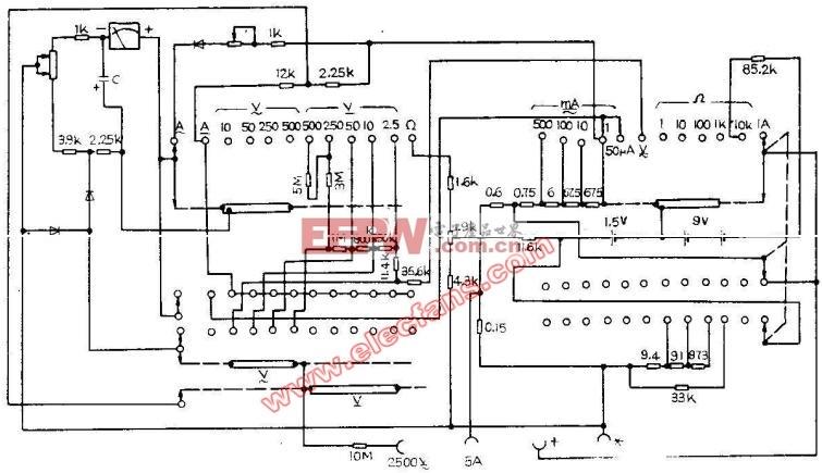 电路图 万用表 mf62/MF62型万用表电路图