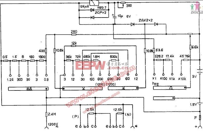 电路图 万用表 mf93/MF93型万用表电路图