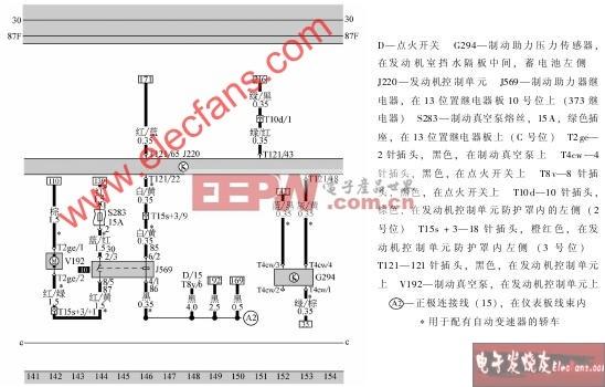 发动机控制单元、制动助力器继电器、制动真空
