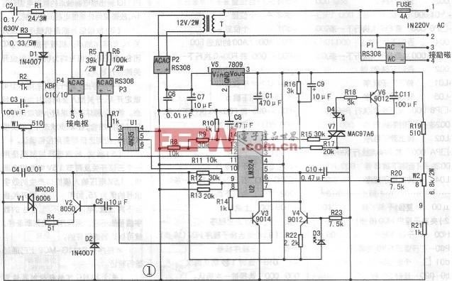 直流电机无级调速电路的制作原理 这块电路板电路简单,成本不高,制作容易,电路作简单分析:220V交流电经变压器T降压,P2整流,V5稳压得到9V直流电压,为四运放集成芯片LM324提供工作电源。P1整流输出是提供直流电机励磁电源。P4整流由可控硅控制得到0-200V的直流,接电机电枢,实现电机无级调速。R1,C2是阻容元件,保护V1可控硅。R3是串在电枢电路中作电流取样,当电机过载时,R3上电压增大,经D1整流,C3稳压,W1调节后进入LM324的12脚,与13脚比较从14脚输出到1脚,触发V7可控硅,D