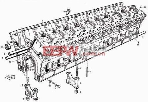 20 v 956 tb 33 型柴油机的汽缸体结构图