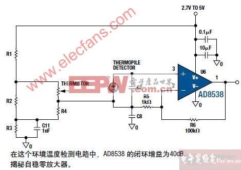 AD8538组成的红外数字体温计电路图