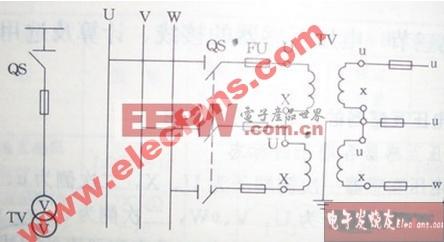 两只单相电压互感器组成的V-V形接线图