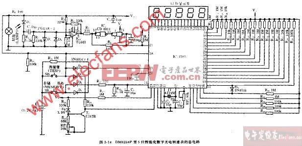 数字 转速表/DM4234P型5位智能化数字光电转速表的总电路图