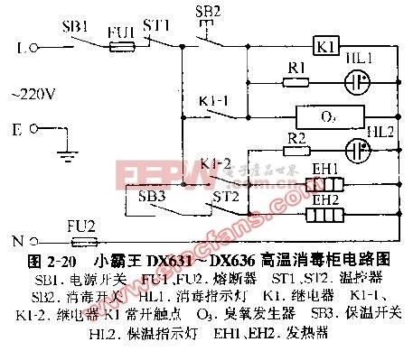 小霸王DX631 DX636高温臭氧消毒柜电路图