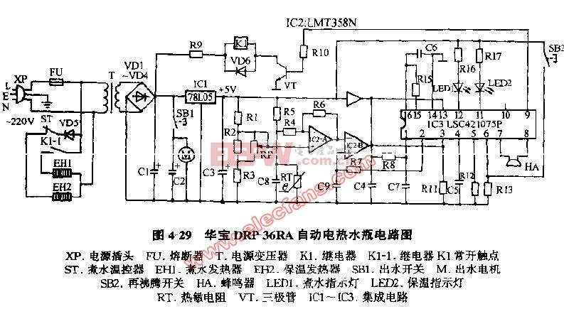 华宝DRP-36RA自动电热水瓶电路图