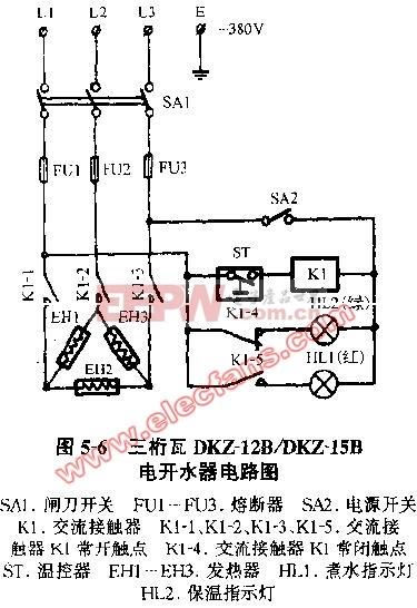 三桁瓦DKZ-12B DKZ-15B电开水器电路图