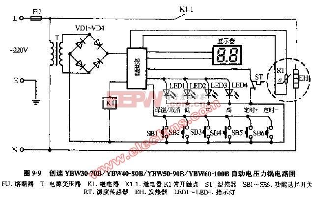 美的电压力锅阻容降压电源电路分析   美的牌my-cj50型电压