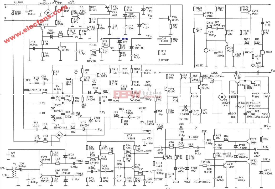 渴望电话机电路图(支持来电显示、语言报号多功
