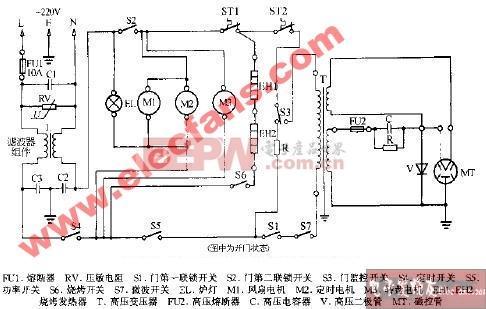 新宝MR-705机械式烧烤微波炉电路图