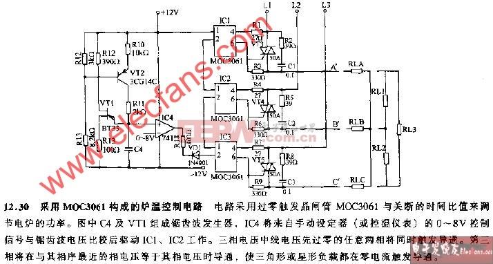 采用MOC3061构成的炉温控制电路