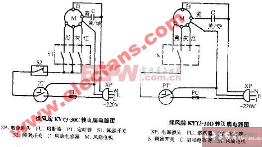 绿风牌KYT3-30C转页扇电路图
