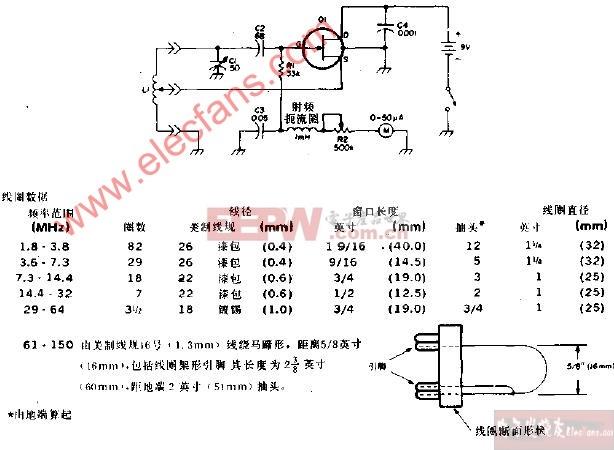 覆盖1.8-150MHz的栅极陷流测试振荡器电路图