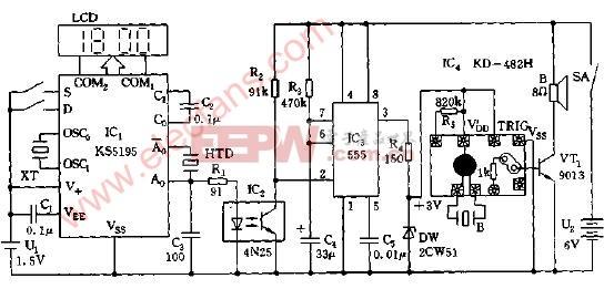 语言 电路图 数字钟 报时 lcd/LCD数字钟整点语言报时电路图