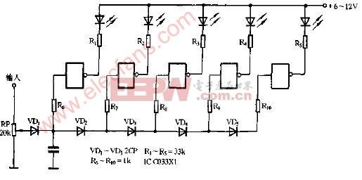 cmos集成电路电平指示电路图