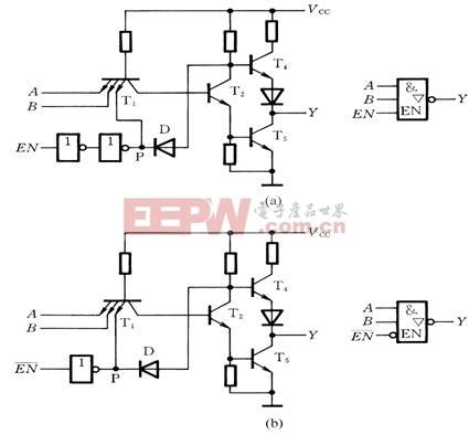输出 电路图 图形符号/三态输出门的电路图和图形符号