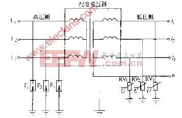 配电变压器低压侧防雷电路图