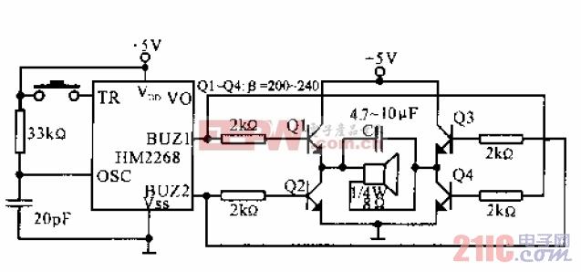 8S ADPCM语音合成集成电路HM2268驱动扬声器应用电路