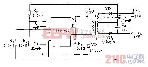 LM3578A用做RS-232线路电压驱动器电源电路图.jpg