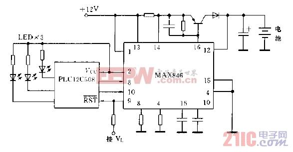 采用PIC12C508微处理器构成的充电电路图