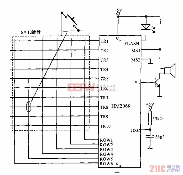 ADPCM语音合成集成电路HM2069的键盘操作模式电路
