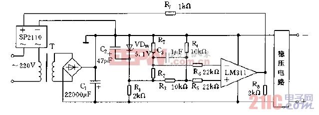 利用过压产生过热的原理进行过压保护的电路图.jpg
