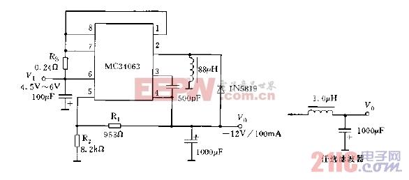 采用MC34063系列构成的极性反转型稳压电路图