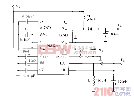 MAX743的基本应用电路图