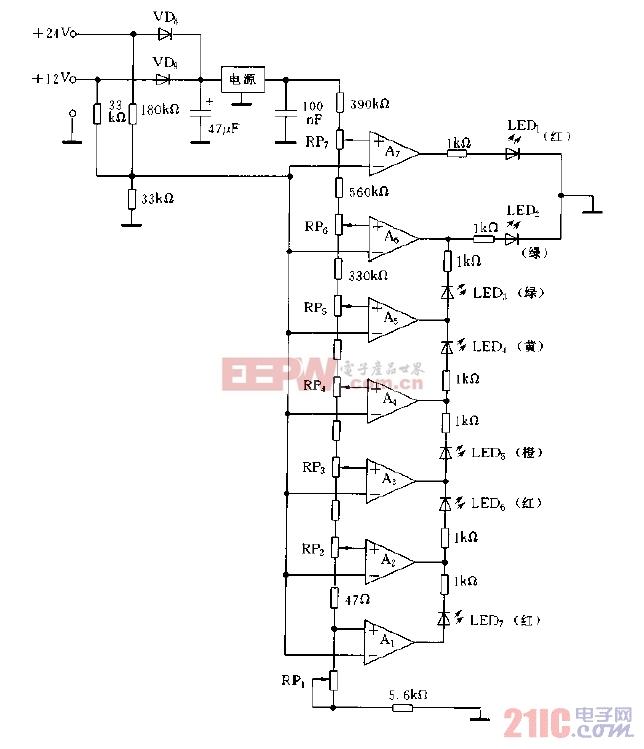 采用LM324构成的电池电压监视电路图.jpg