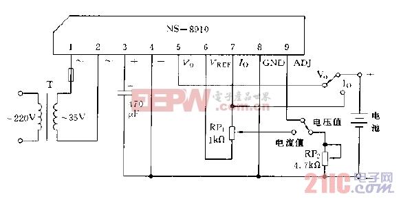 采用NS-8910模块构成充电电路图