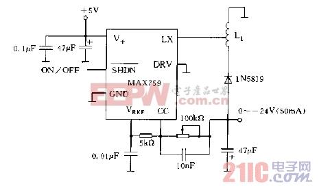 MAX759构成LCD的-24V供电电源电路图.jpg