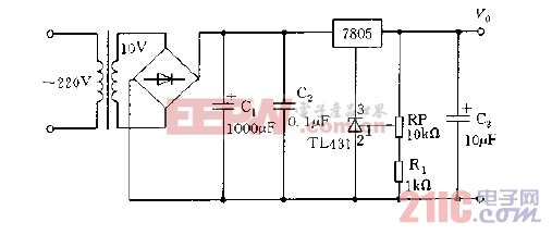 TL431与7805构成可调稳压电源电路图.jpg